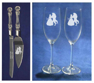 Beauty and the Beast Wedding knife cake server glasses Personalize free shipping