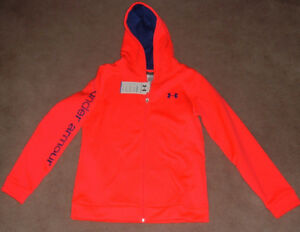 New Girls UNDER ARMOUR YXLG Full Zip Front Pink Cold Gear Hoodie Sweatshirt NWT