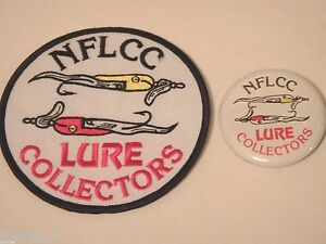 Vintage NFLCC Fishing Lures Old Lures Patch amp; Pin Button