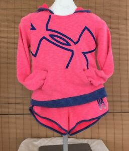 UNDER ARMOUR Lot 2 Girls Large Varsity Shorts & Hoodie Matching Set Pink Terry
