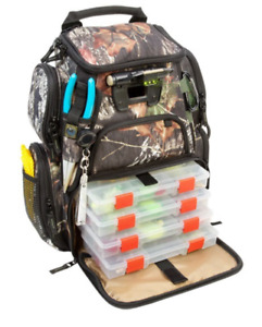CAMO Tackle Box BACKPACK w LED Light Trays Size Fishing Lure Tool Holder Compact