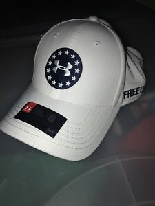 Under Armour Golf Spieth Freedom Tactical Flex Fit Hat Cap LXL White Rare Find