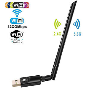 1200Mbps Wireless USB Wifi Adapter Dongle Dual Band 2.4G5GHz wAntenna 802.11AC
