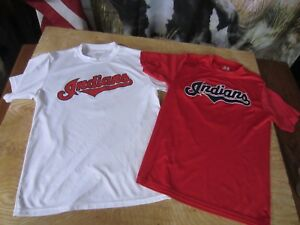2 Shirt LOT Cleveland Indians A4 stretch DRY-FIT t SHIRTS jersey BOYS YOUTH M