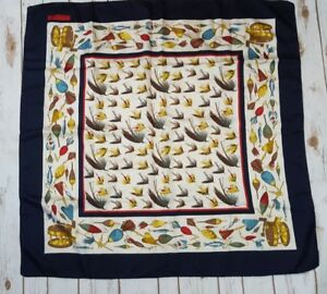 Vintage Brooks Brothers Silk Scarf Fishing Lures Italy A9