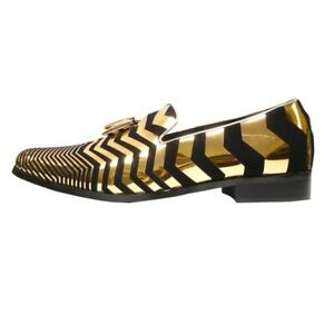 Men's Fiesso Gold Black Suede Zebra Design Slip On Cap Toe Dress Shoes FI 6945