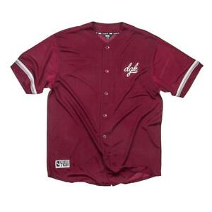 DGK Men's Rally Baseball Jersey Buttondown T Shirt Burgundy Clothing Apparel