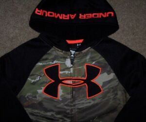 NWT Under Armour FULL ZIP Green CAMOBlackNEON ORANGE Hoodie Jacket 5 Boys LOGO