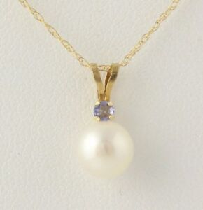 NEW Pearl & Tanzanite Pendant W Necklace Set - 10k Yellow Gold Chain Women's