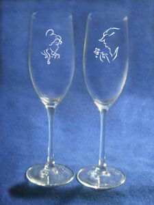 Beauty and the Beast Wedding Glasses engraved personalized Belle