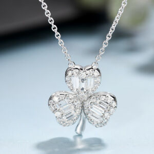Paper Flowers Diamond Necklace Natural Wedding Pendants Solid 18k White Gold