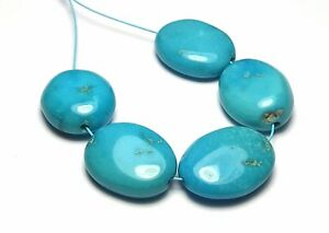 5 pcs SLEEPING BEAUTY TURQUOISE 14-16mm Oval Beads Natural o8