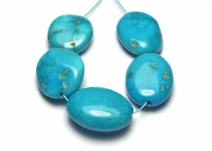5 pcs SLEEPING BEAUTY TURQUOISE 14-16mm Oval Beads Natural o2