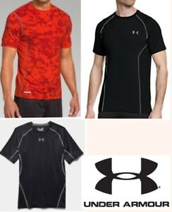 lot UNDER ARMOUR fitted shirts short sleeve heat gear athletic quick dry men LG