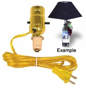 M988G Wine Bottle Lamp Kit Gold Pre-wired and Ready to Use -Drill-Free Lamp Kit
