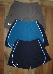 LOT THREE 3 UNDER ARMOUR Men Running Shorts Lined Heat Gear Size Large Blue Gray