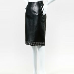 Alaia NWT Black Lambskin Grommet Embroidered Pencil Skirt SZ 40
