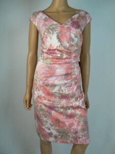 $120 Adrianna Papell Pink White Textured Vneck Ruched Sheath Dress 14 NWT A948 $41.99