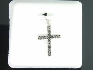 Ladies 10K White Gold Black Diamond Jesus Cross Pendant Charm For Necklace .19CT