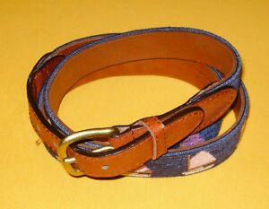 MEN'S SMATHERS & BRANSON MULTI COLOR SAILBOAT DESIGN NEEDLEPOINT BELT SIZE 44