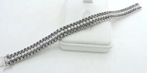 14K White GOLD Fancy Tennis Blue Sapphire & Diamond Bracelet 7 14
