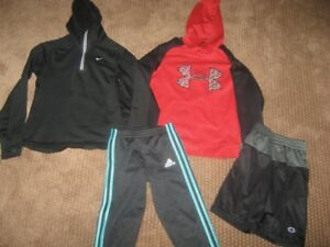 BOYS LOT NIKE FIT DRY HOODIE UNDER ARMOUR HOODIE SHORTS SWEATS SMALL