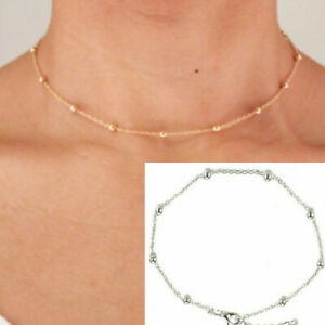 Choker Necklace Beaded Gold Silver Bead Station Chain Dainty 14 Inch Simple