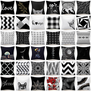 18x18 Black White Throw PILLOW COVER Double Sided Decorative Soft Cushion Case