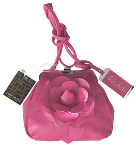 Chocolate New York Bright Pink Leather Cross Body Purse  NWT