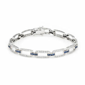 Diamond Sapphire Link Bracelet Vintage 18k White Gold Estate Fine Jewelry