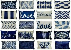 12x20quot; Linen Navy Blue Throw PILLOW COVER Double Sided Retro Lumbar Cushion Case $7.86