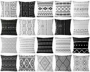PILLOW COVER Black White Double-Sided African Home Decor Bed Cushion Case 18x18