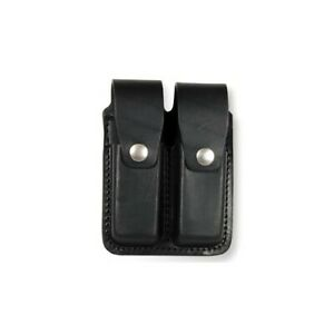 Boston Leather Black Basketweave Double Magazine MAG Pouch For 9mm Or 40 Cal
