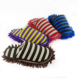 Home Cleaning Slippers Striped Scuffs Microfiber Mop Floor Dusting Shoes 4Colors