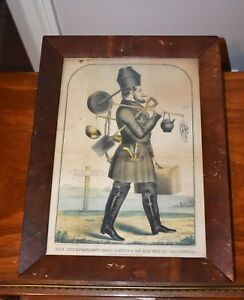 RARE THE INDEPENDENT GOLD HUNTER ON HIS WAY TO CALIFORNIA HANDCOLORED LITHOGRAPH