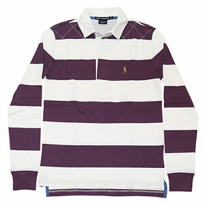 Polo Ralph Lauren Sport Womens Quilted Rugby Shirt Sweatshirt Purple White Small