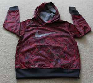 Nike Therma dry fit sweat shirt hoodie kids boys red  Gray size 4 NEW XS;.
