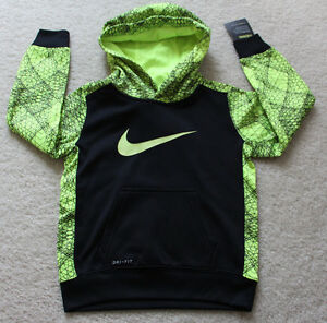 Nike Therma dry fit sweat shirt hoodie kids boys black yellow size 4 NEW XSmall`