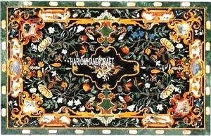 Exclusive Marble Makrana Inlay Table Dining Mosaic Rare Floral Design Arts H3258