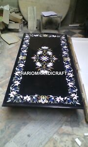 Black Marble Dining Table Top & FREE Trinket Jewelry Box Inlay Work Wedding Gift