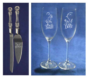 Beauty and  Beast Wedding knife cake server glasses Personalize free shipping