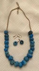 Vintage Turquoise  Blue Donkey Bead Beads Necklace & Earring Set