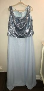 Women's Plus Size Custom Blue Sequin Evening Event Cocktail Party Prom Dress 20