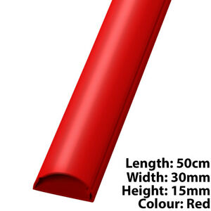 50cm - 30mm x 15mm Red HDMI  Audio Cable TrunkingConduit Cover - AVPC Wall