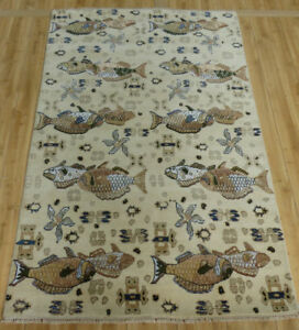 4'x7' New 100% hand Knotted wool & Silk Tropical Fish Top quality Oriental rug