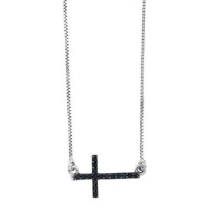 Diamond Cross .925 Sterling Silver Cross Black Diamond Necklace 18