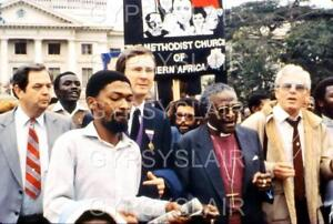RARE Orig Photo Slide 1986 Desmond Tutu & S. Africa Methodist Apartheid Protest