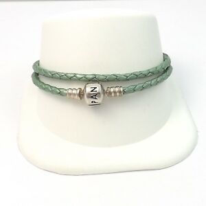 Pandora Double Light Green Leather Bracelet Sterling Silver Barrel Clasp