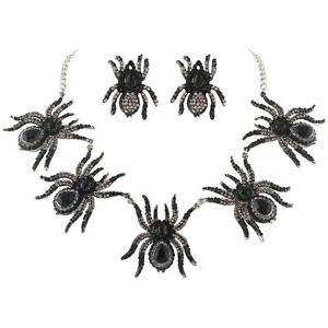 5 Black Spider Insect Necklace Earrings Set Austrian Crystal Silver Plated Women