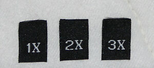 1000 Woven Clothing Size Labels Tags Tab for Handmade Sewing Crafts 1X 2X 3X $9.98